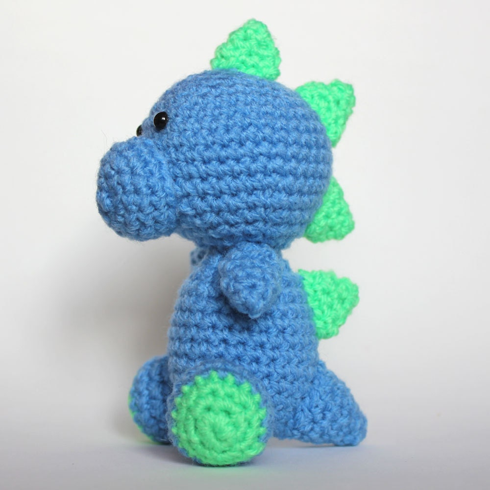Amigurumi Blue and Green Dinosaur by cutedesigns on Etsy