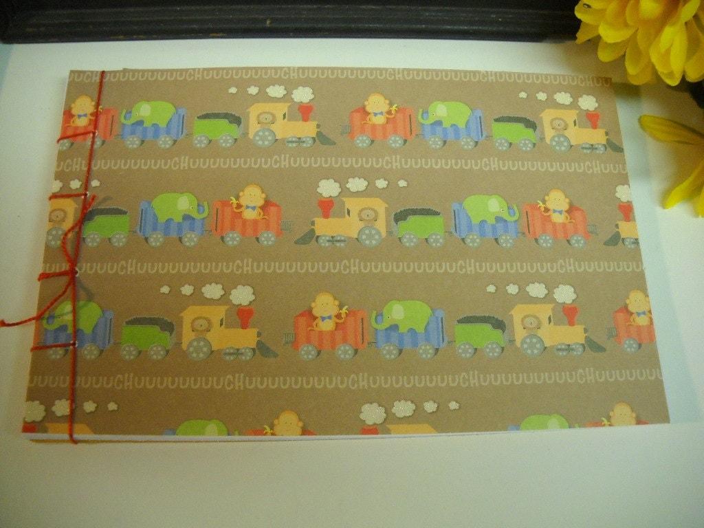baby shower guest book keepsake album nursery train by mrschadt