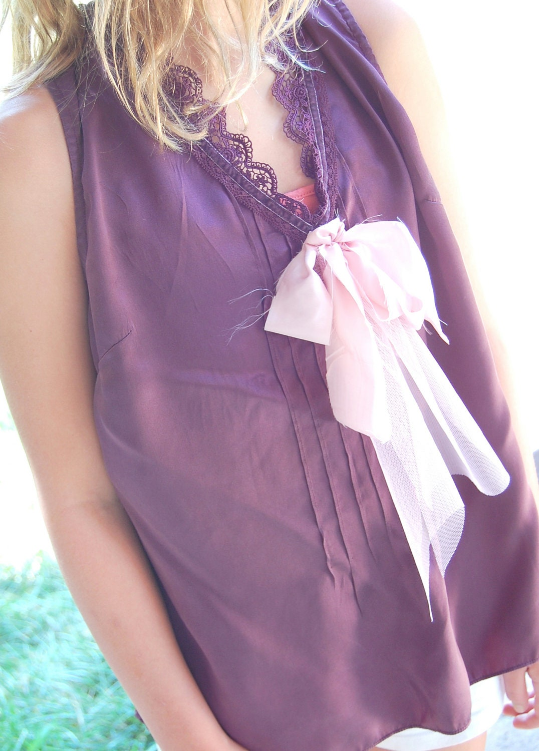 Silk Camisole Top Womens Clothing Pink Silk Ribbon Shabby Chic Altered