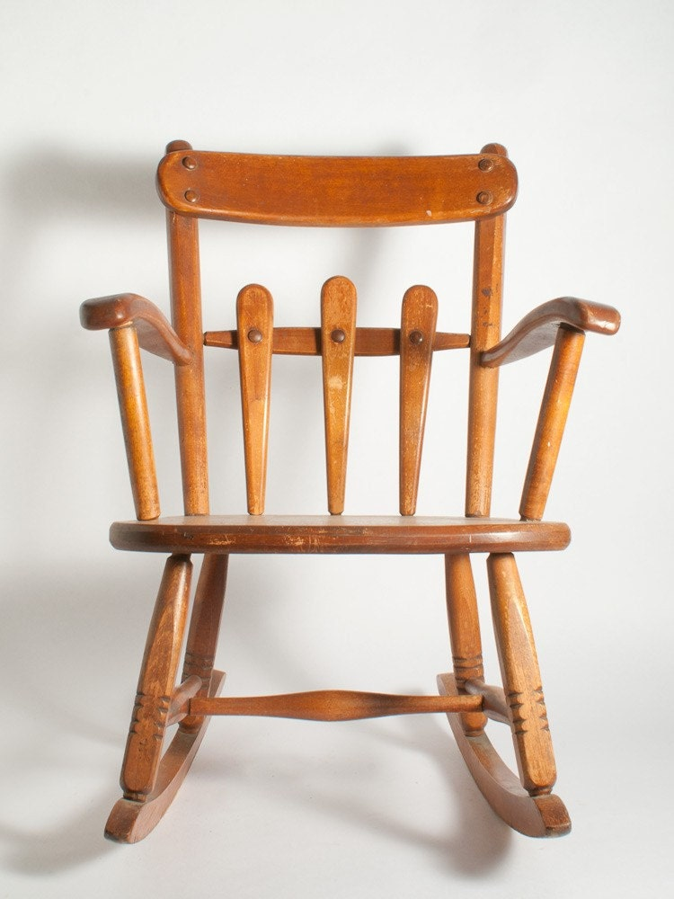 REDUCED Antique Child 39 S Wooden Rocking Chair By