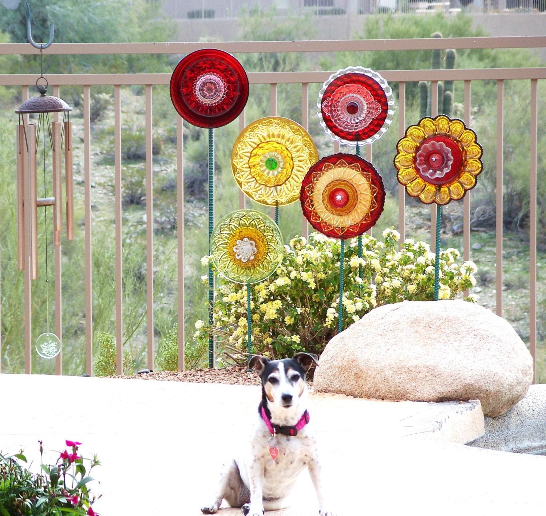 Gardeners Gift Idea Garden Art Yard Decor Suncatcher Reclaimed Red Gold Glass Plate Flower Garden Stake Marker FALLON - jarmfarm