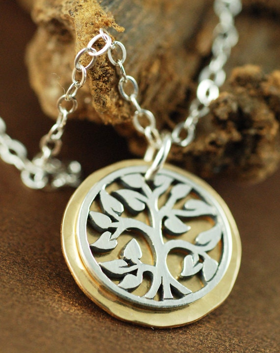 Tree Of Life Necklace Family Tree Necklace Silver And Gold Necklace