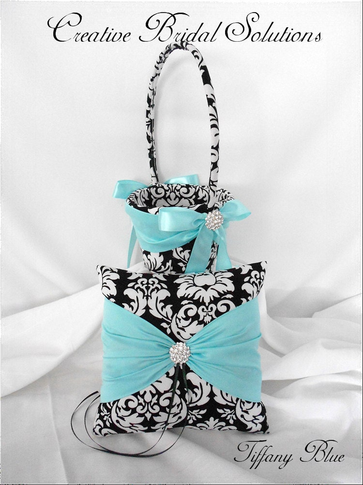 Black and White MM Damask with Tiffany Blue Wedding Ring Pillow and Flower