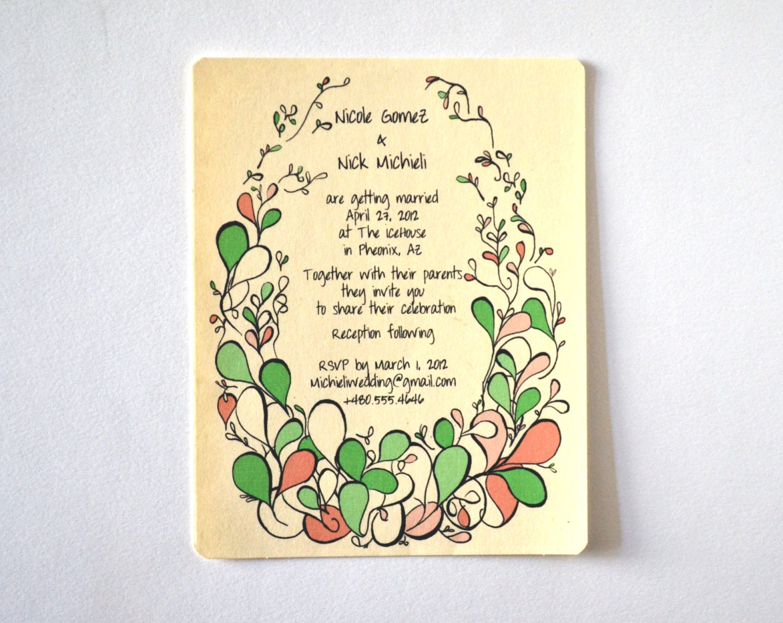 items similar to wedding invitation hand drawn printed With hand drawn wedding invitations etsy