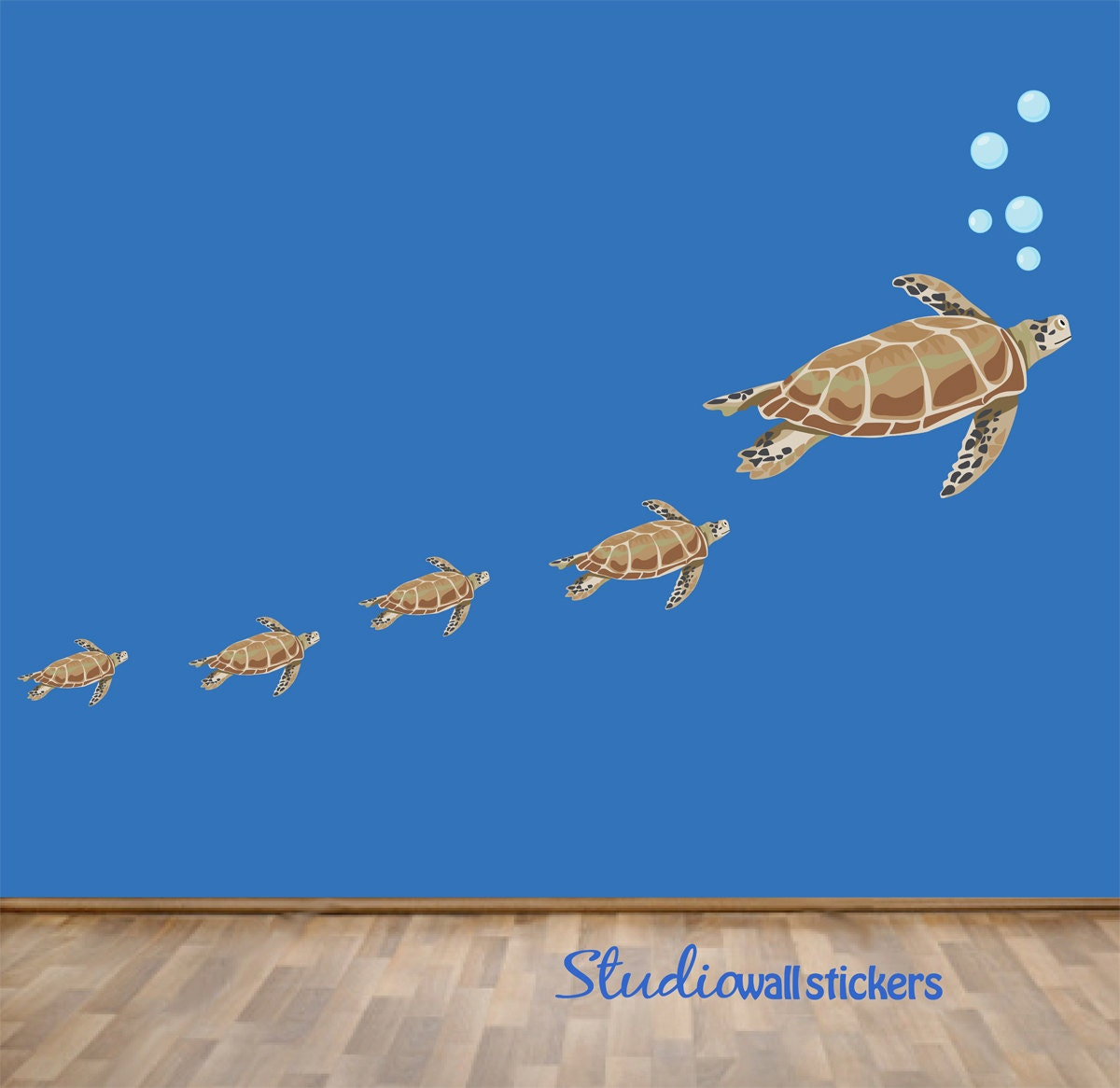 reusable sea turtles wall decal childrens by studiowallstickers. Black Bedroom Furniture Sets. Home Design Ideas