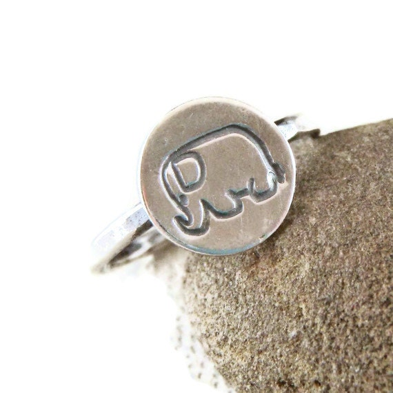 lucky elephant ring in sterling silver silver by