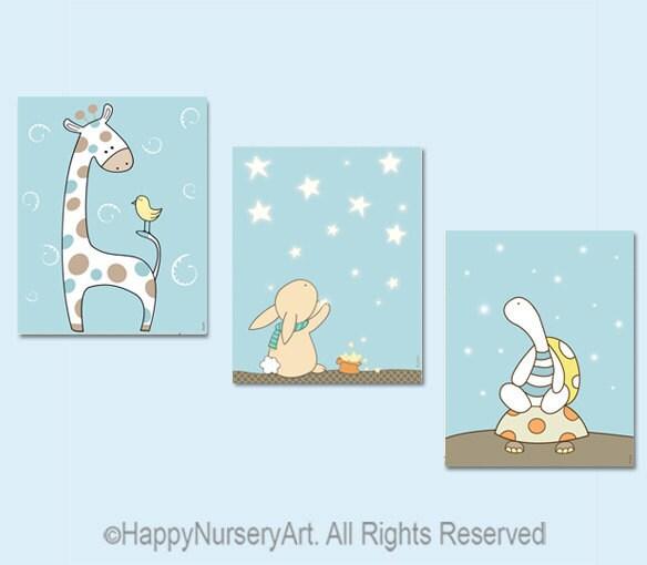 Nursery Art Prints Set Of 3 Giraffe Bunny By Happynurseryart