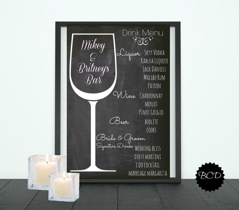 wedding bar menu template