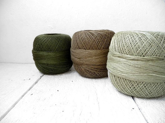 Linen Yarn : Lace weight Linen yarn woodland green collection by YarnStories