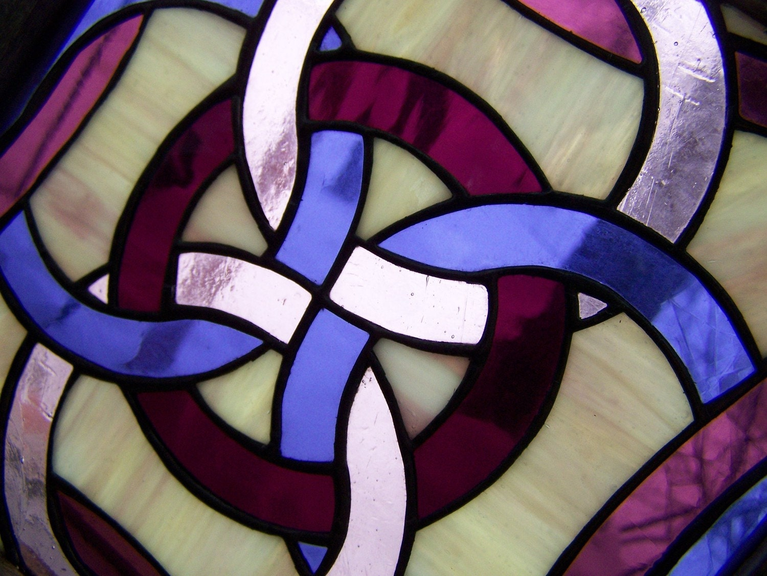Five Fold Celtic Symbol Purple Stained Glass - TaraSawchuk