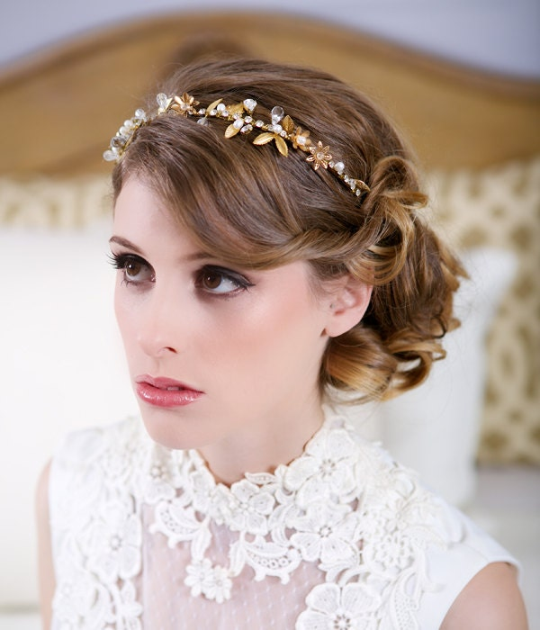 Gold Flower Hair Crown Pearl Crystal Headband Brass