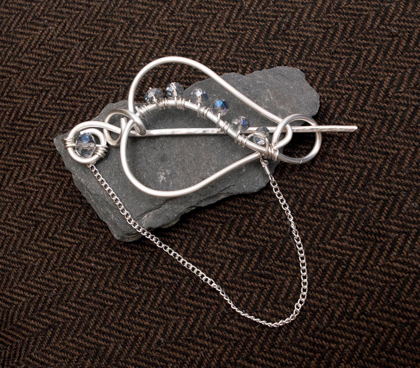 Shawl pinsilver wire heart shape pin sweater broochscarf broochshawl brooch