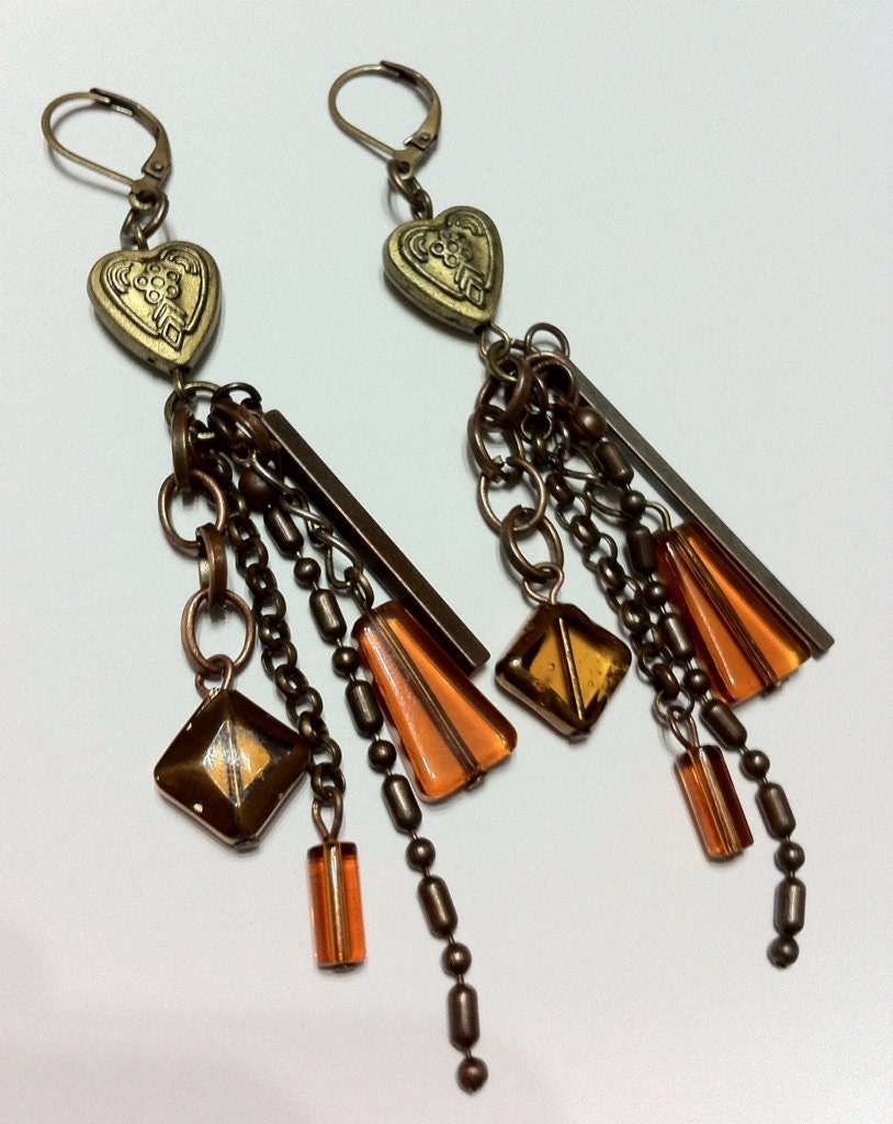 Vintage Glass Beaded Cascade Earrings  Love Heart Long Dangly Chain Earrings