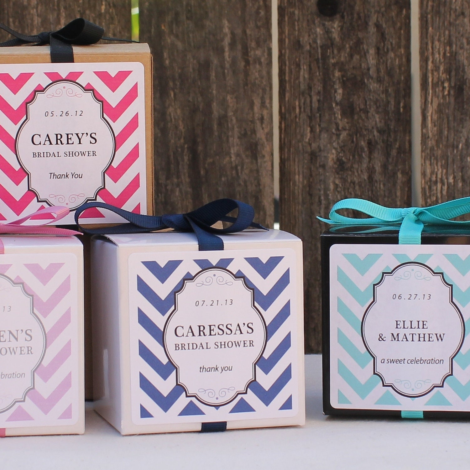 Boxes For Baby Shower Favors: 18 Chevron Design Personalized Favor Boxes ANY By Thefavorbox