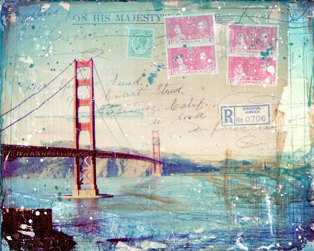 "Kingston - 10"" x 8"" paper print of San Francisco California themed mixed media collage, golden gate bridge, west coast pacific photography - maechevrette"
