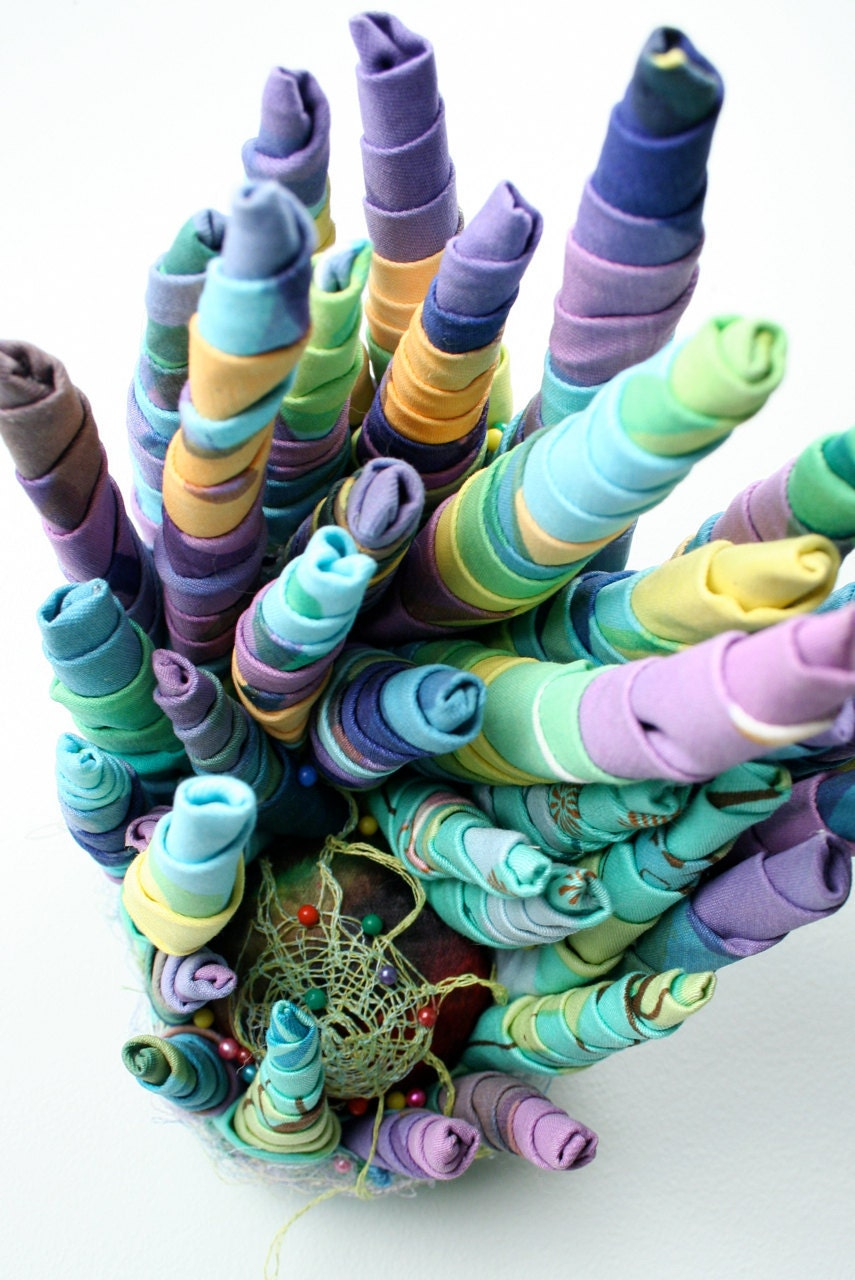 "Silkscreened Bright Green Purple and Pink Rolled Sculpture with Embroidery ""Unravelled"" - richmade"