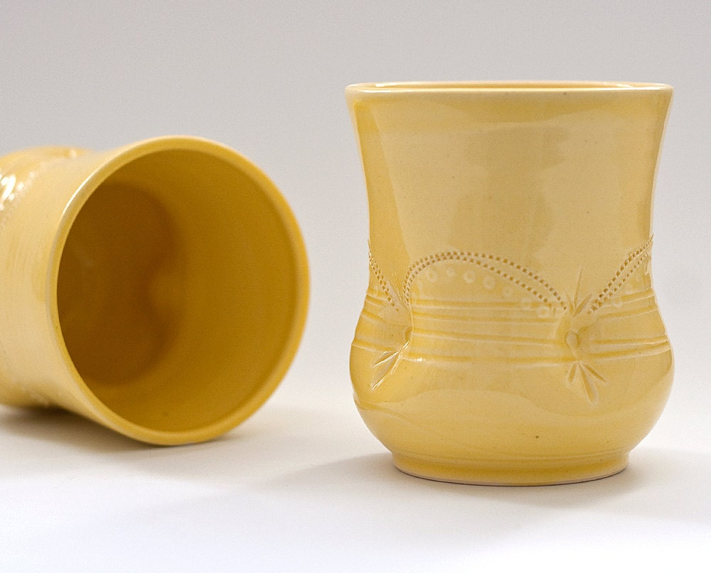 Tumblers - Cups - Pair of Wine Cups - Yellow
