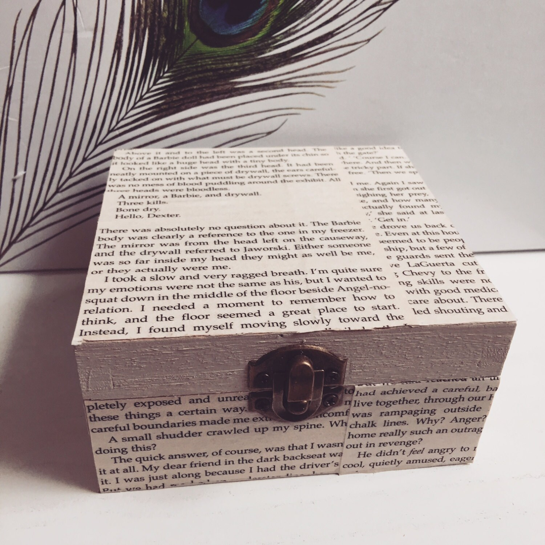 Wooden Storage Box Square Box Novel Decoupage Trinket Box Book Decoupage Jewellery Box