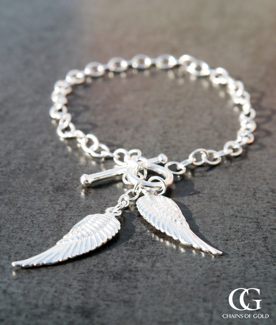 Sterling Silver Angel Wings TBar Belcher Bracelet 7.5 NOT PLATED