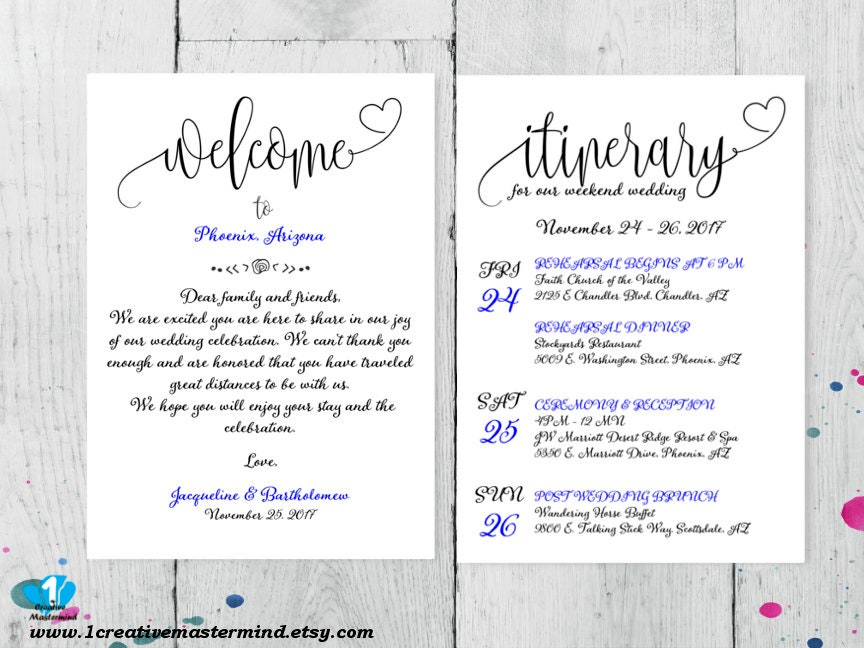 Welcome bag note wedding