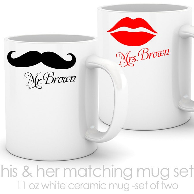 His And Her Wedding Shower Gifts : his and her matching coffee mugs mustache by youreworthit on Etsy