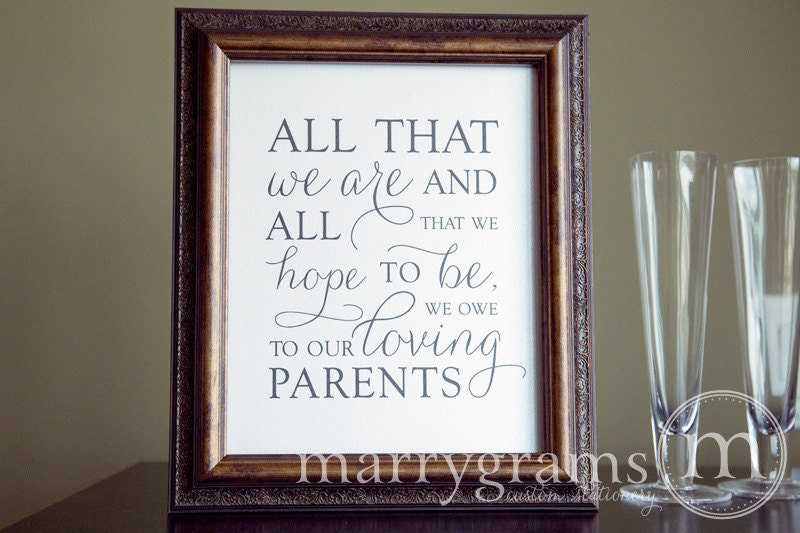 Thank You Sign For Wedding Gift Table : Wedding Reception Parent Thank You SignAll That We Are Signage ...
