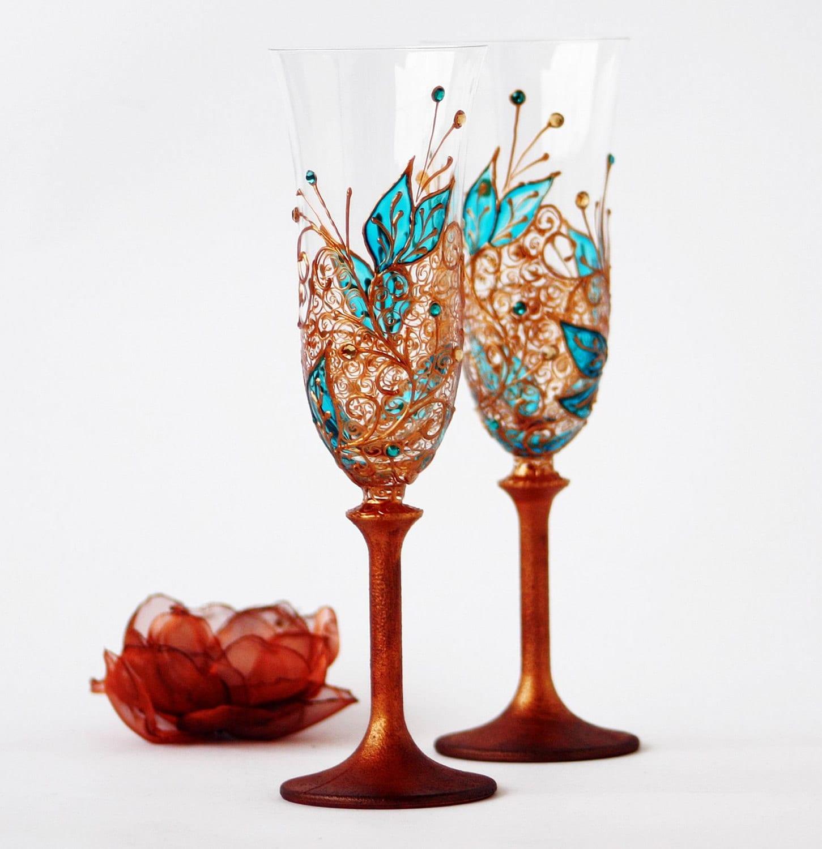 Шампанское Toasting флейты меди и бирюзовый Ручная роспись Набор из 2 Великого на свадьбу, юбилей, Семейный отдых