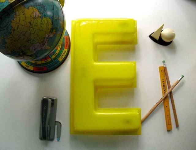 Vintage Mid Century Modern Bright Yellow Letter E - Sign Signage