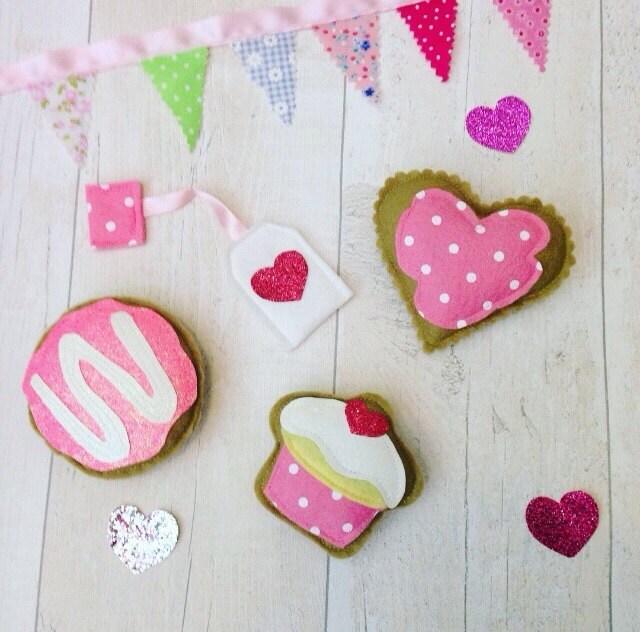 Pink Delight Tea Party Set Felt pretend play food Felt Cookies Felt Food Pretend Play Food