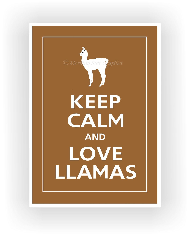 Items similar to Keep Calm and LOVE LLAMAS (Cute Baby Llama) Print 5x7