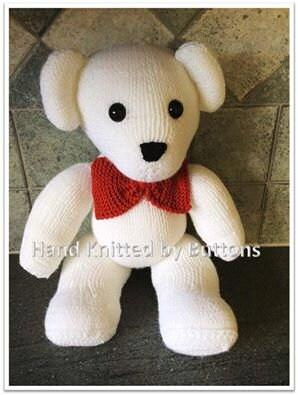 Hand Knitted Teddy bear White teddy bear CE tested teddy UK Seller Newborn gift Christening teddyHand knitted teddy Teddy Bear