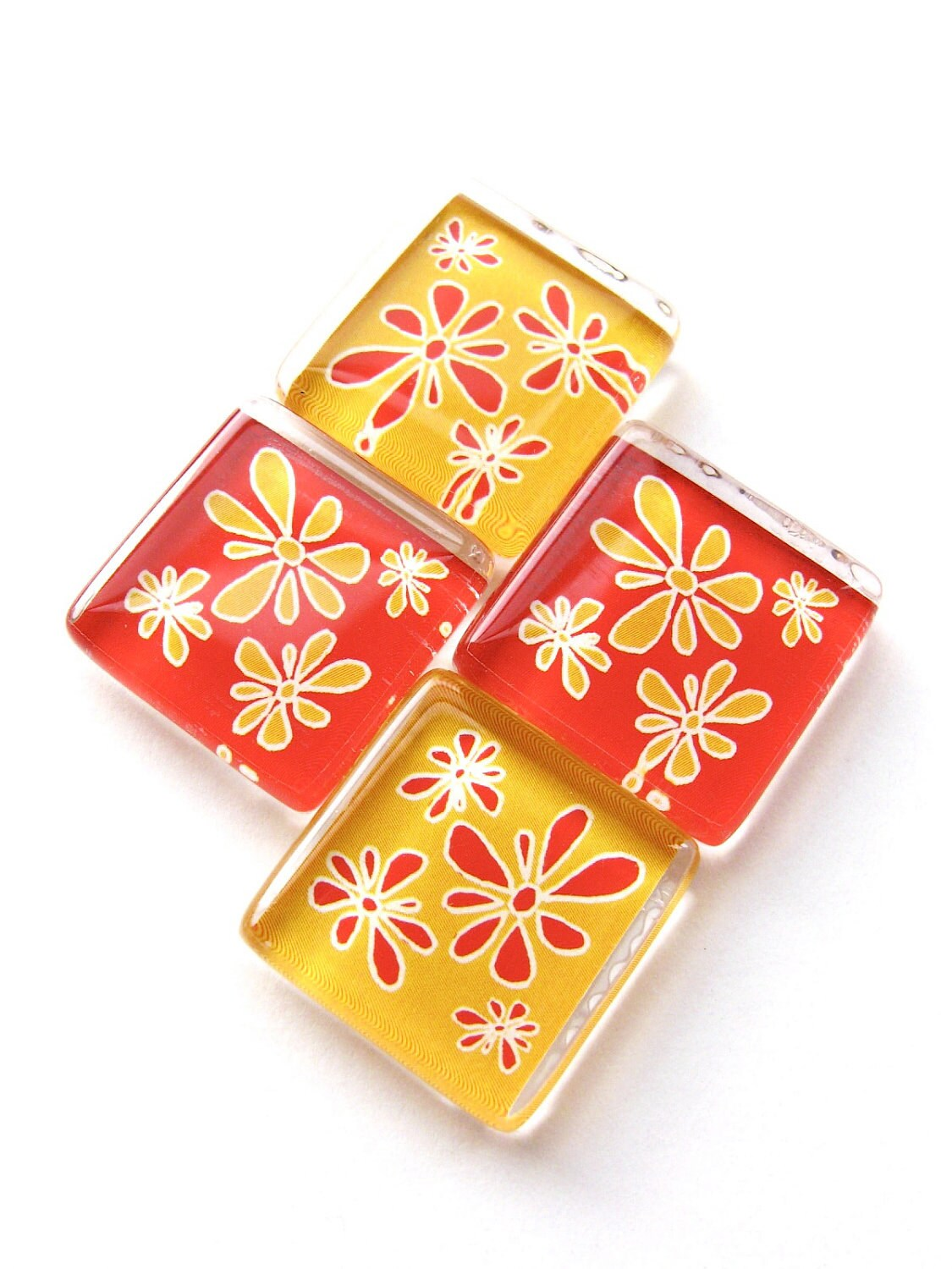Glass magnets - Set of 4 Mod Flower Blossoms in red and yellow - PurtyBird