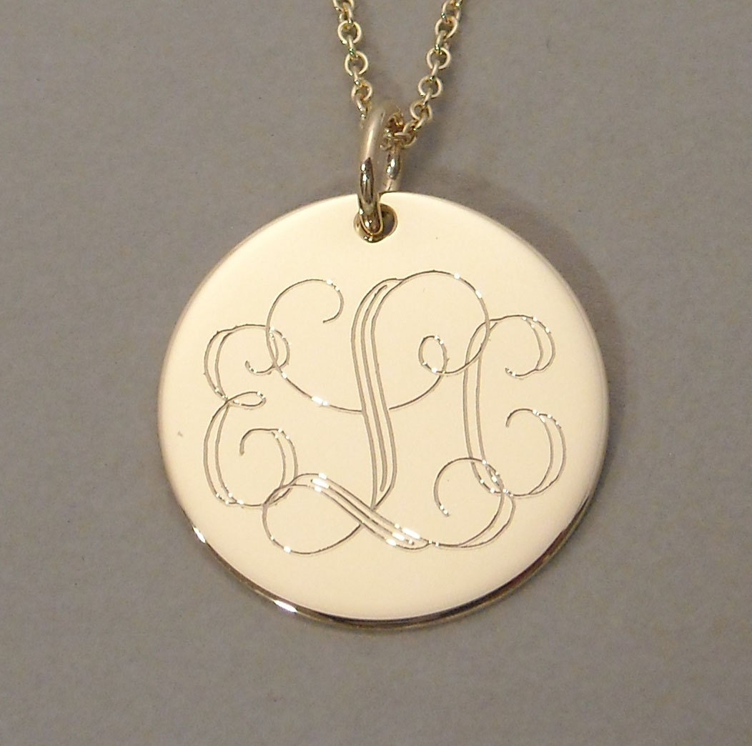 items similar to 14ky gold engraved monogram pendant