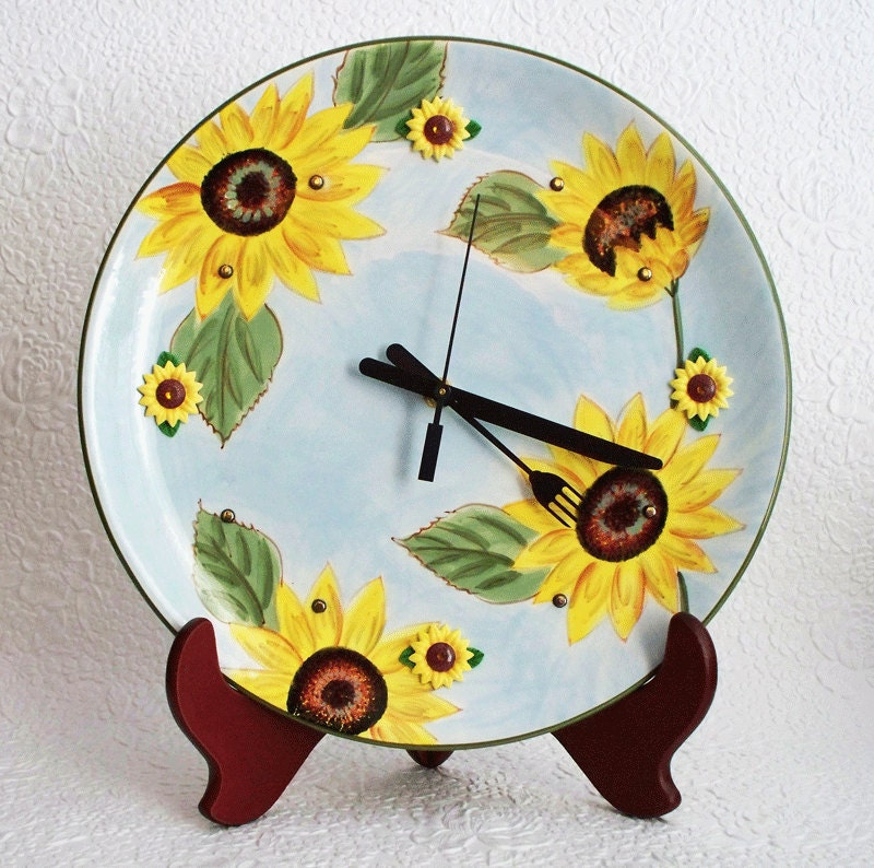Wall Clock Floral Design : Kitchen wall clock floral design by rfclocksandlights on etsy
