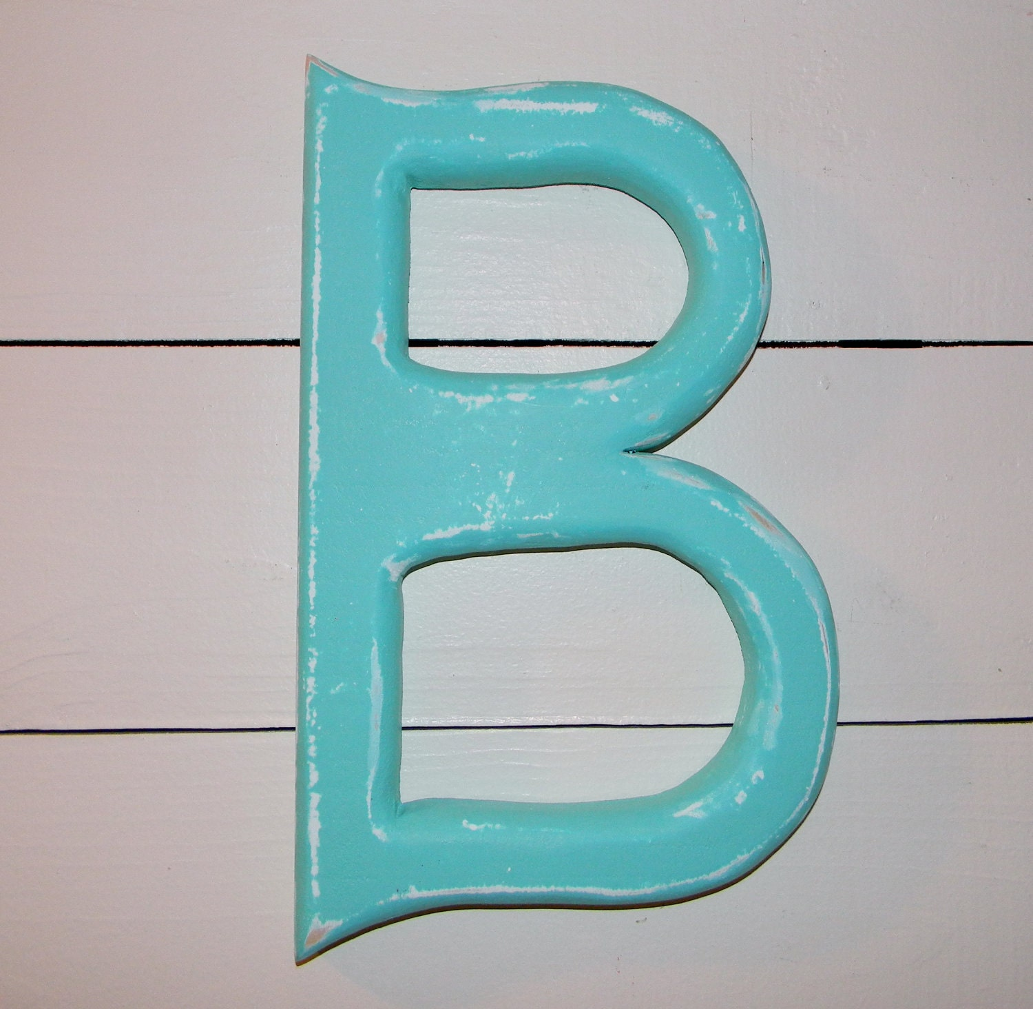 Wall Decor Letter B : Wooden letter b wall decor patina aqua by hensnesttreasures