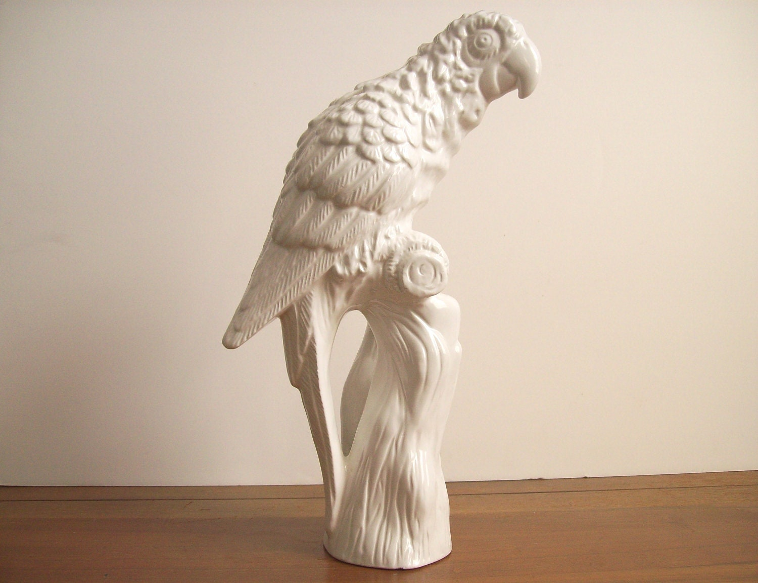 Large White Parrot Statue Figurine Ceramic Bird By