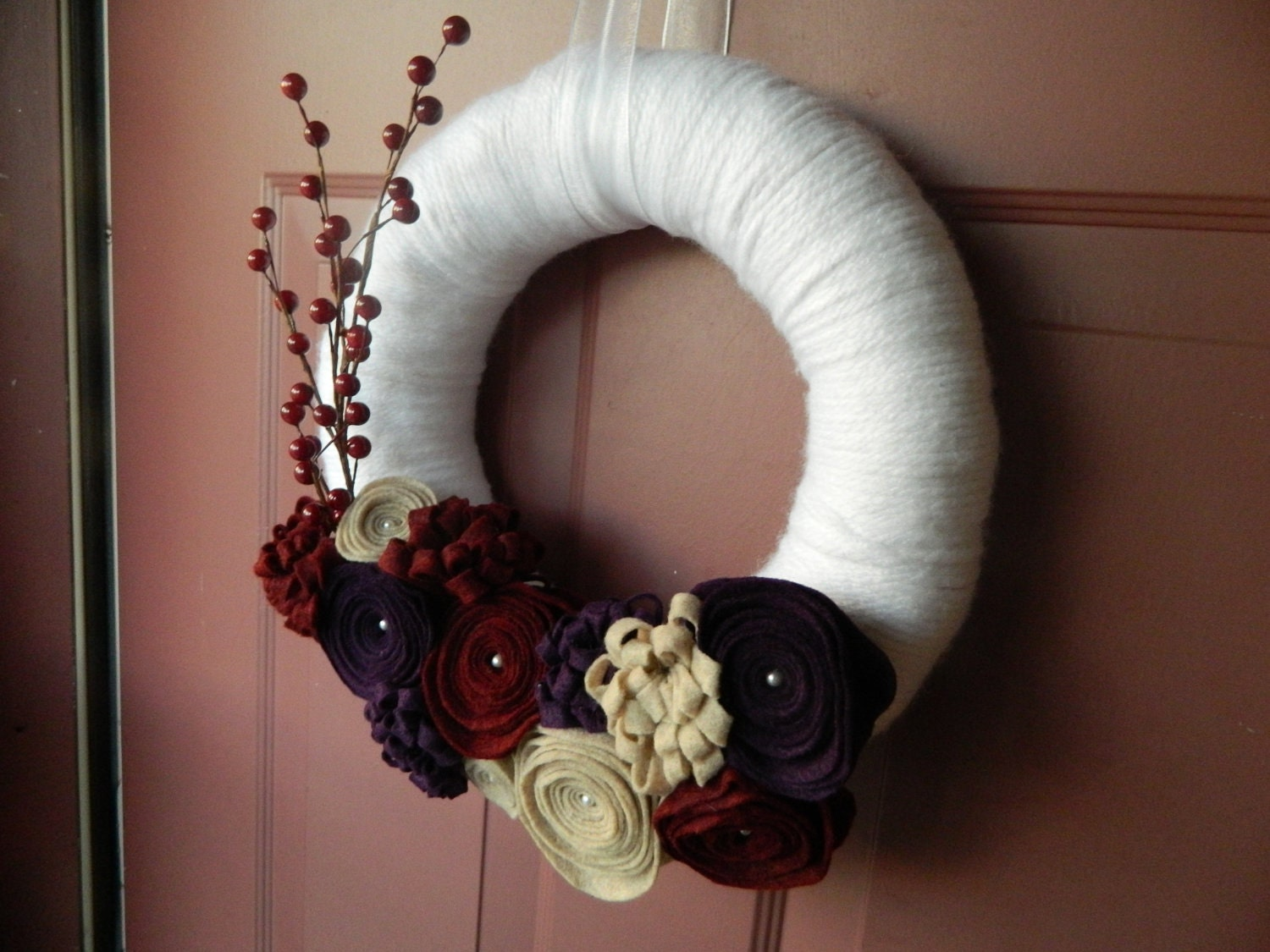 White Yarn Wrapped Wreath with Plum, Cranberry and Cream Felt Flowers