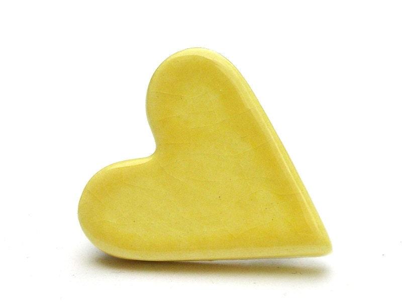 Lemon yellow heart ceramic button badge - handmade - LauraPotterCeramics