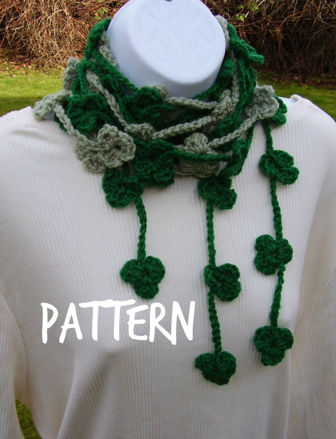 PATTERN -  Lucky Clover / Shamrock Lariat Scarf - Crochet Pattern - TREASURY Item