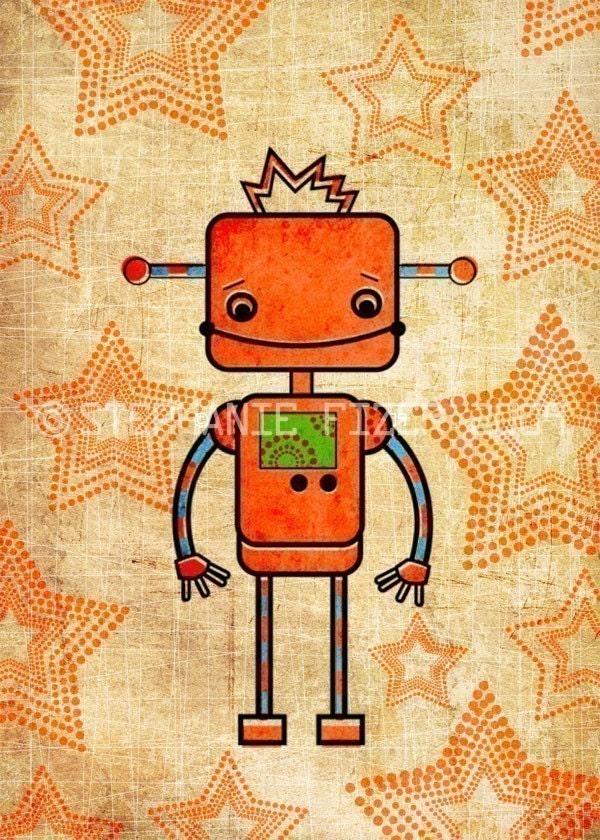 Kids robot art orange robot art print by thefoxandtheteacup for Robot baby room decor