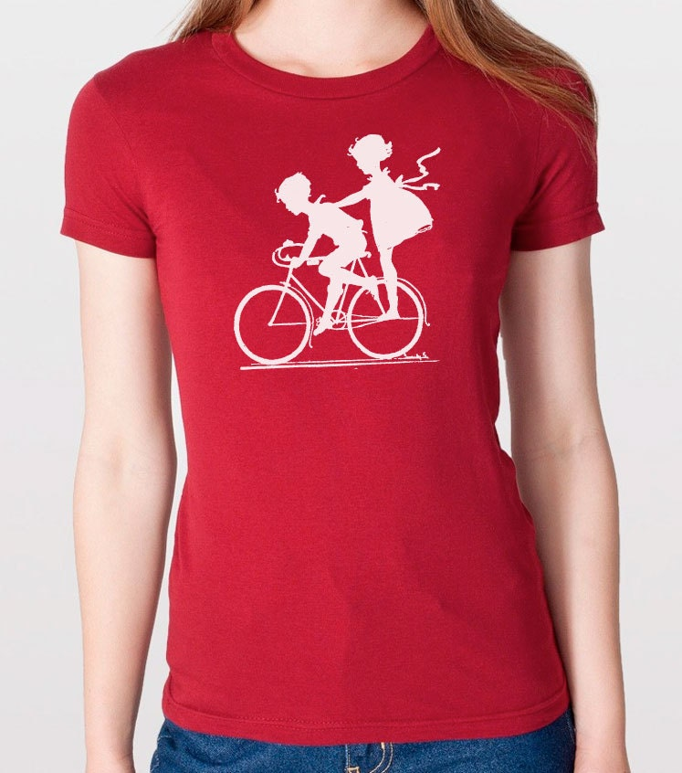 Vintage graphic children biking t shirt womens tshirt cool for Graphic t shirts for kids