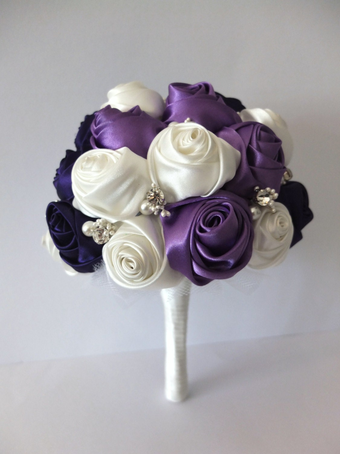 Bridal Bouquet Out Of Ribbons : Handmade ribbon rose bouquet purple ivory by lovemimosafleur