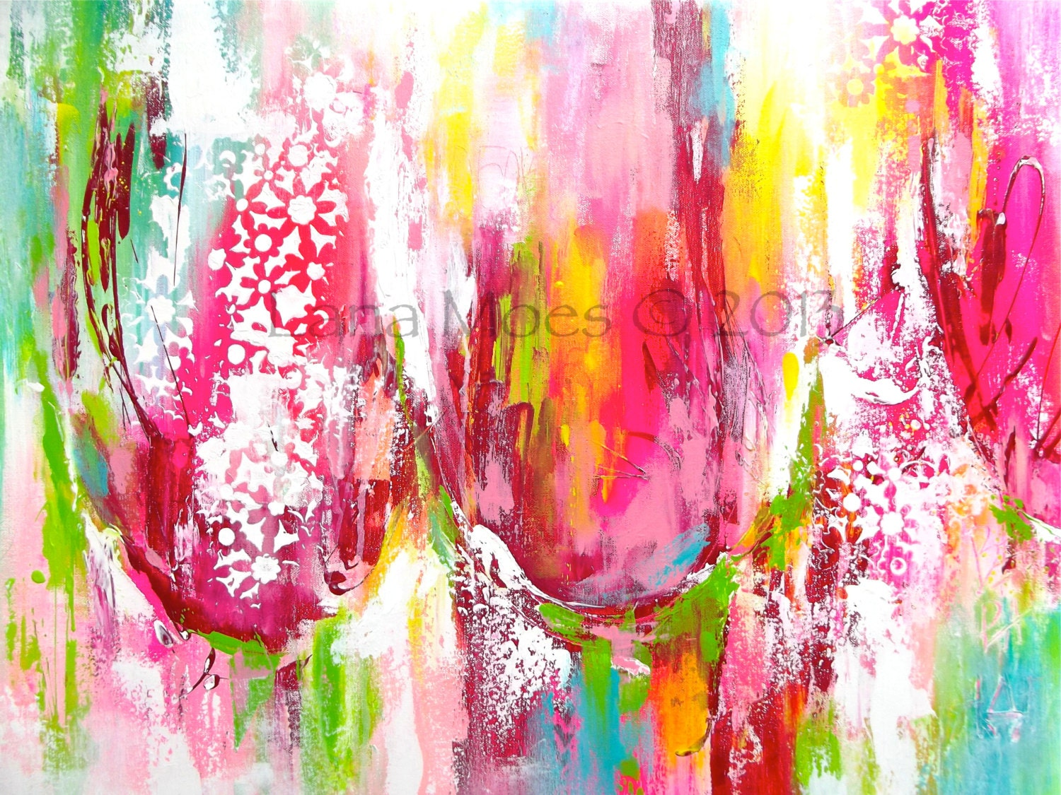 Large Abstract Tulips Painting  - Pink, Red, Chartreuse, Teal Painting - Made to Order - Contemporary Home Decor - lanasfineart