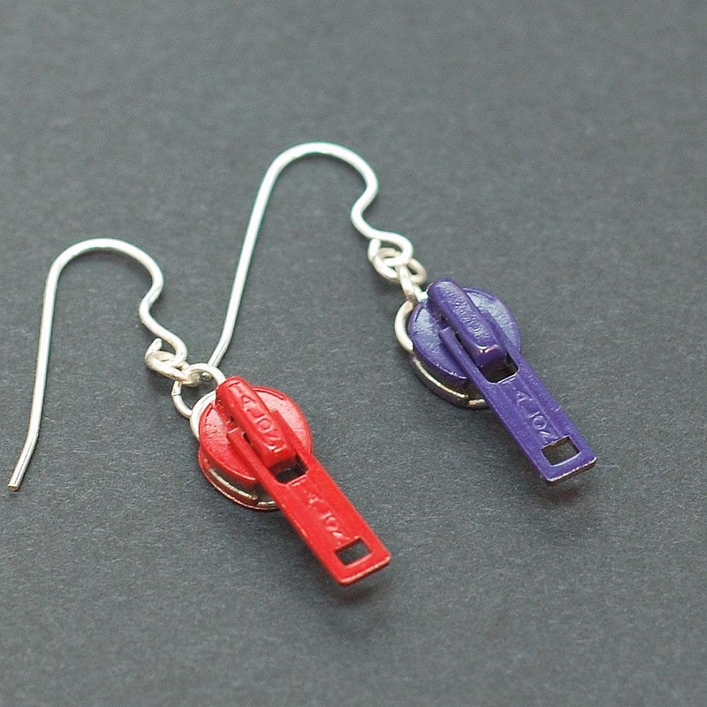 Upcycled Red & Purple Zipper Pull Earrings Found Object Jewelry