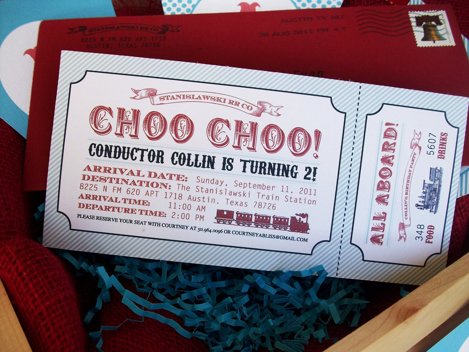 Choo Choo Train Birthday Party Boarding Pass Invitation