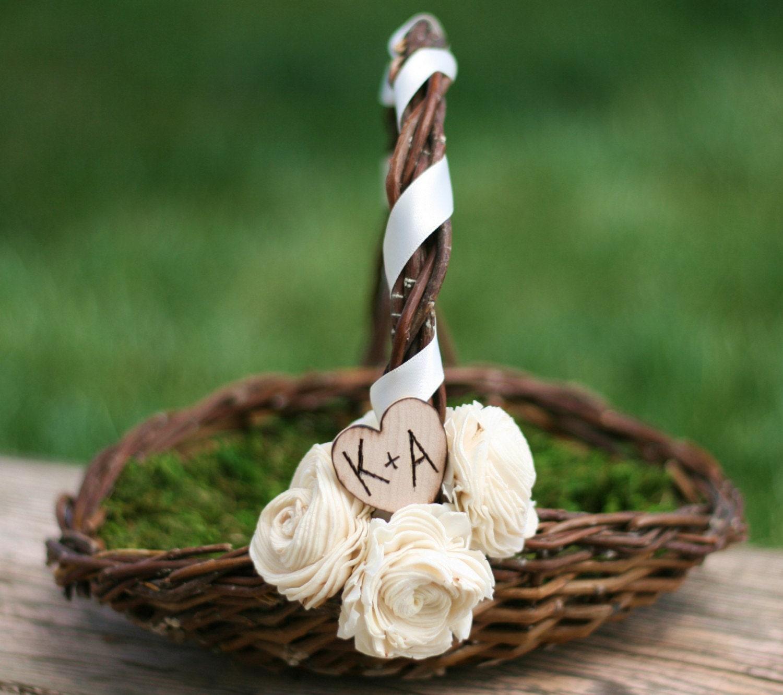 Flower Girl Basket Moss : Personalized flower girl basket woodland rustic by