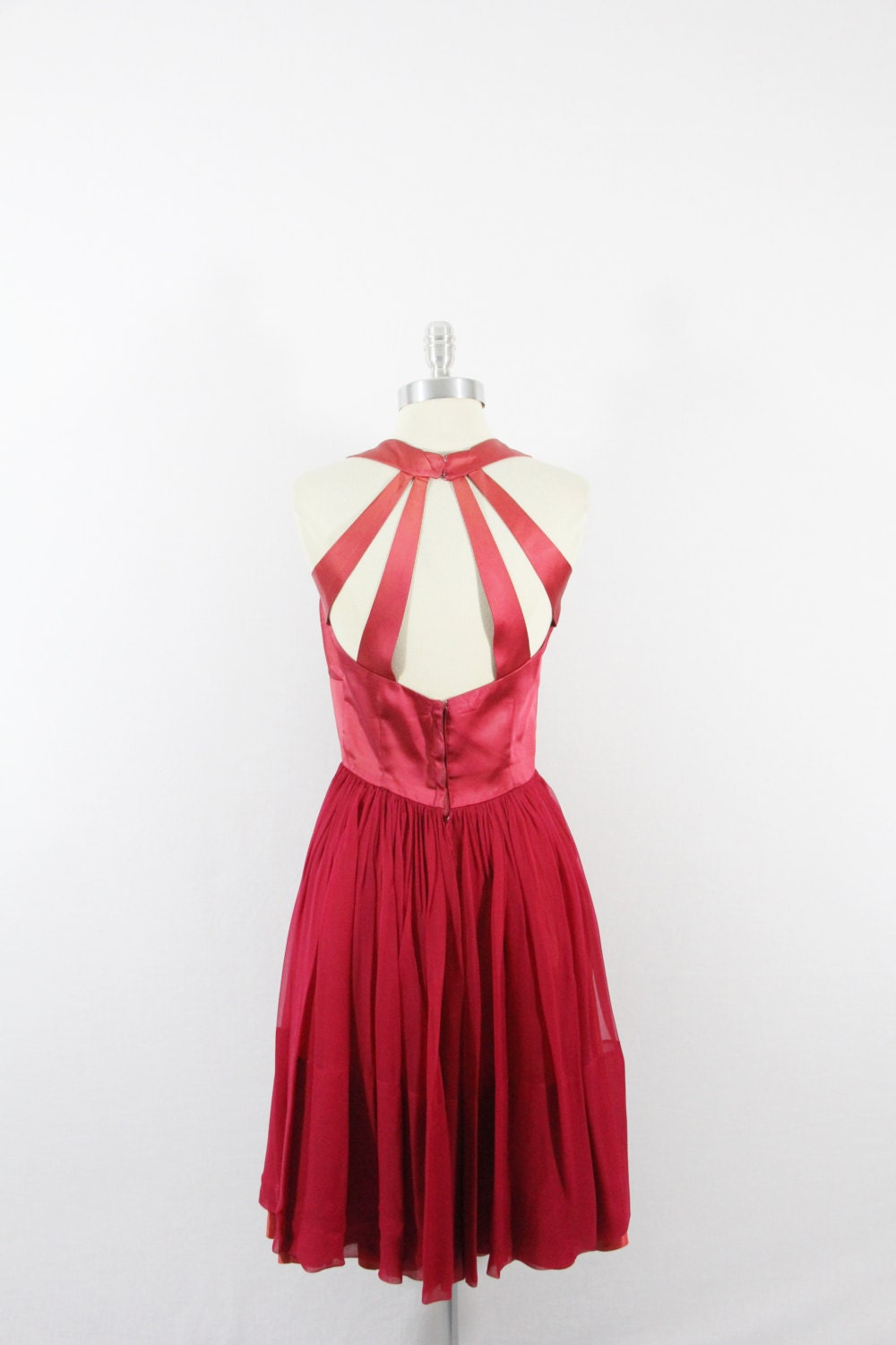 1950s Vintage Party Dress - Hot Pink Halter with Full Skirt Cocktail Party Frock