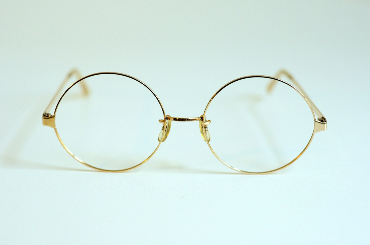60s 80s Round Glasses 12K Gold Filled Metal by ...