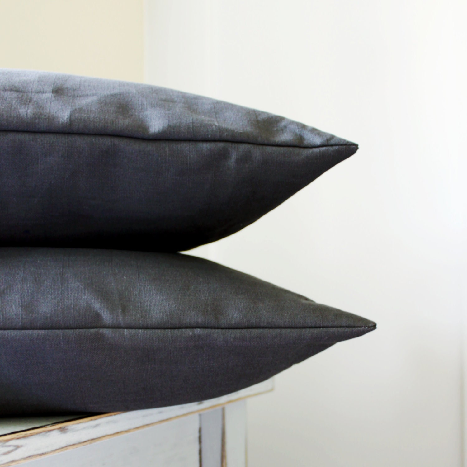 2 Solid Grey Pillow Covers Dark Grey Throw by laughterandsand