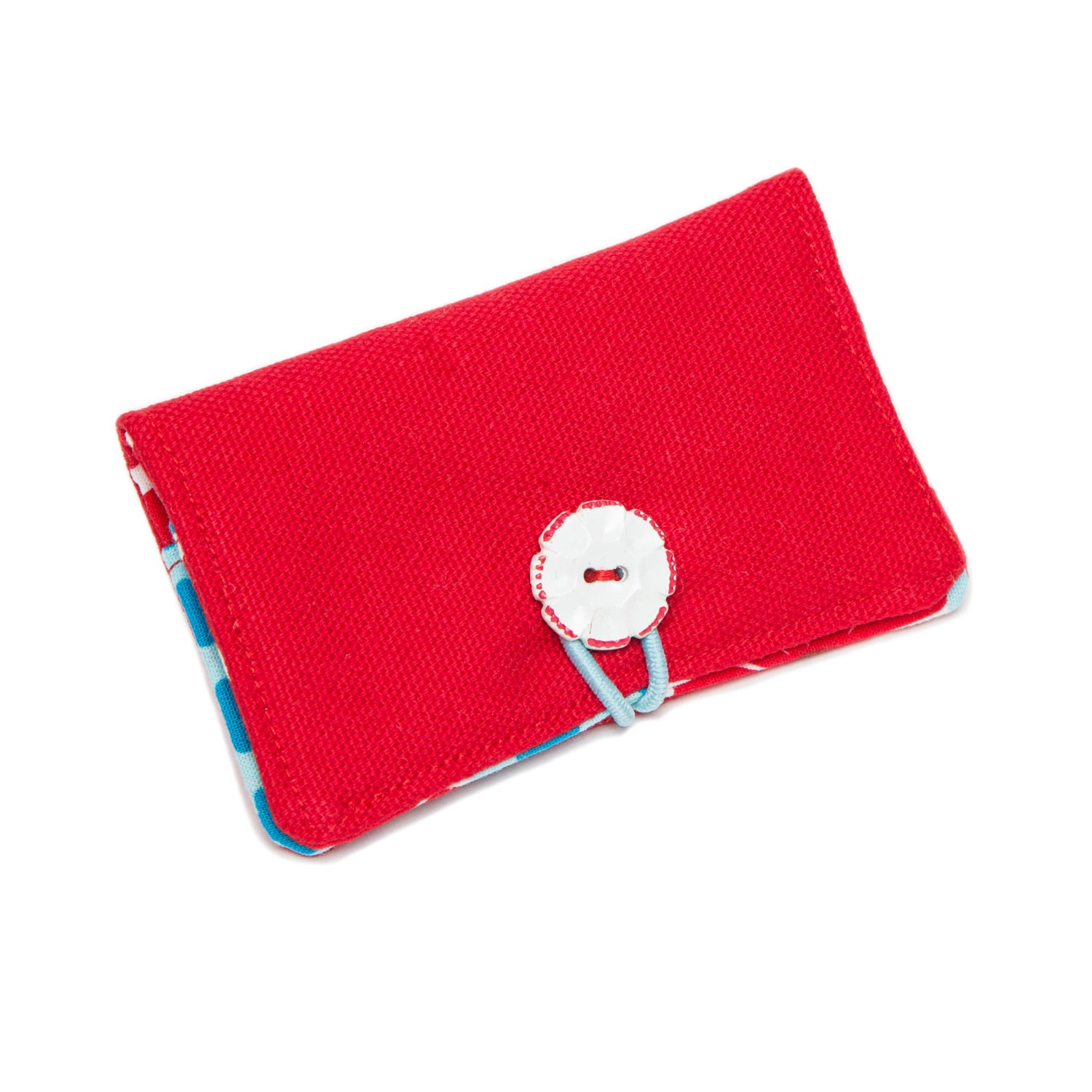 Foundation Bifold Organic Canvas Wallet with Vintage Button Closure: {Blue} {Pink} {Red} {Yellow} - STRUCTUREbags